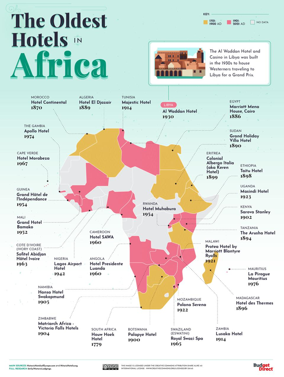 A map of the oldest hotels in Africa.