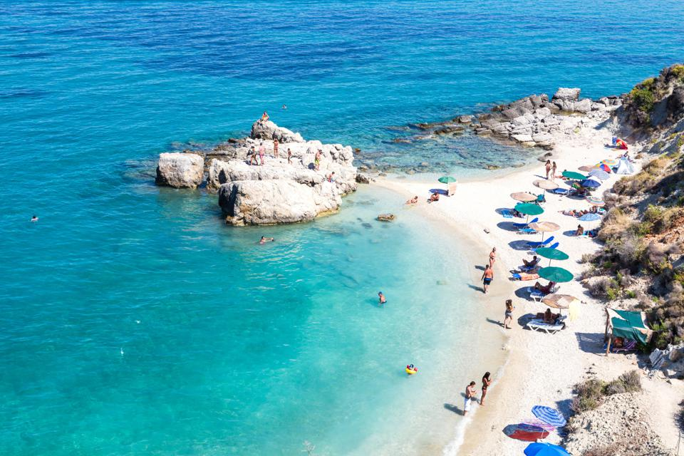 Xigia sulphur beach on Zakynthos, a Greek Islands–now open for tourism, as the rest of the EU follows.