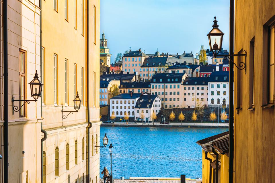 Riddarholmen, an old town in Stockholm, Sweden on the Baltic sea.