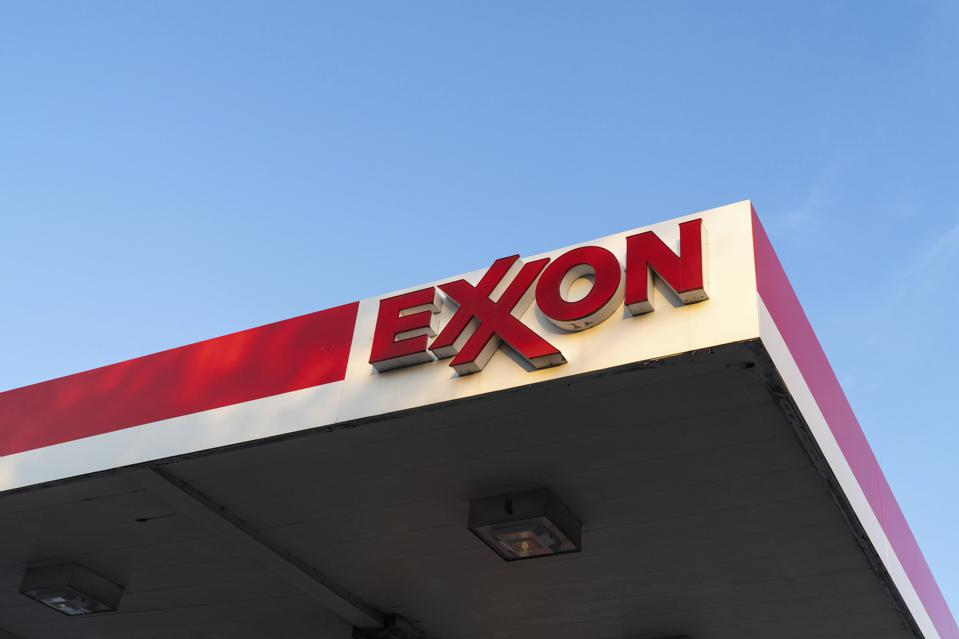 A view of an Exxon logo at a Gas Station in NYC - 10/20/20