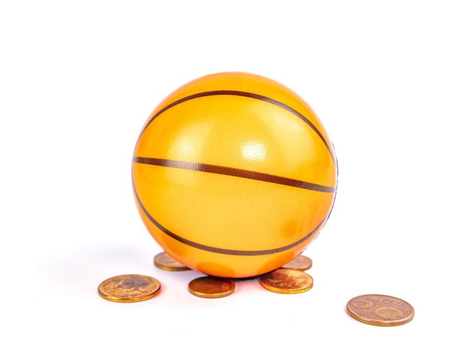 Basketball ball with tokens