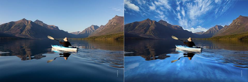 Before and after images showing dramatic new sky and reflections in a lake