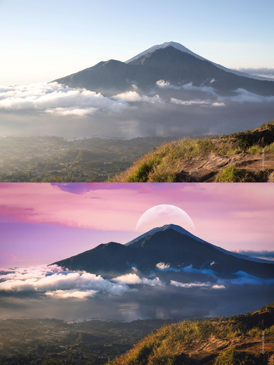 Before and after image of a mountain with a replacement sky and a moon.