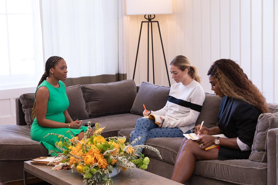 Erin Carpenter, founder of Nude Barre, pitching Whitney Wolfe Herd and Serena Williams