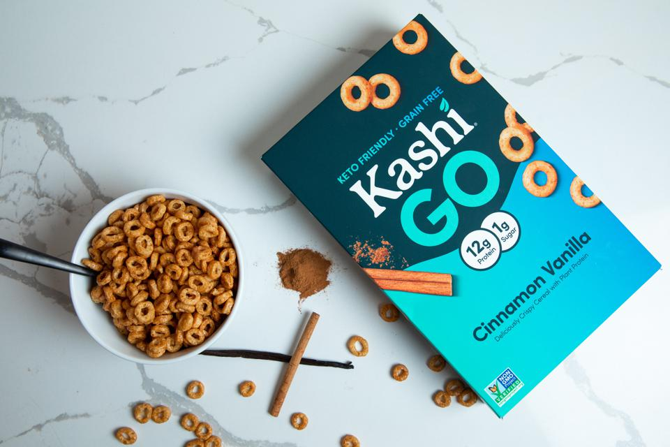 Kashi GO Keto-Friendly Cereal next to a bowl of cereal.