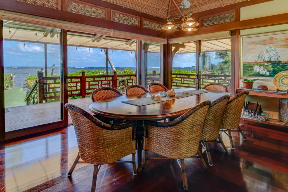 dining room inside kauai north shore oceanfront estate overlooking the ocean