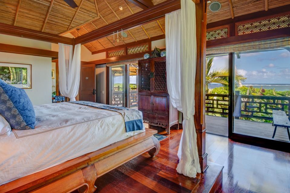 ocean-view primary bedroom kauai estate north shore luxury hawaii home