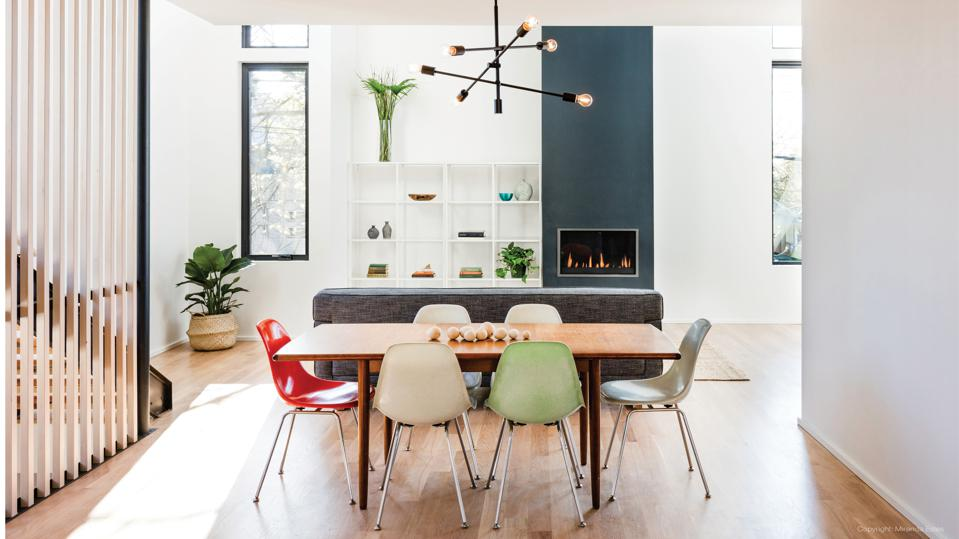 Dining room with contemporary table and chairs