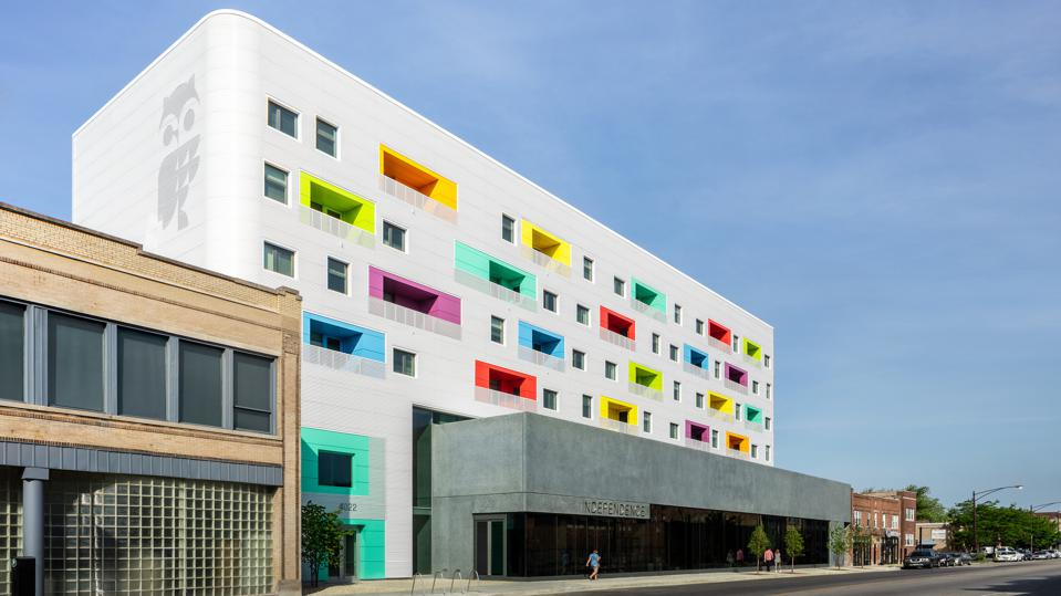 Library with a colorful facade and image of an owl