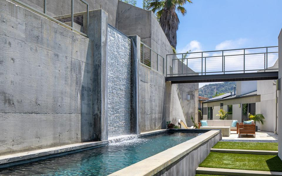 waterfall spa feature donald wexler house hollywood hills