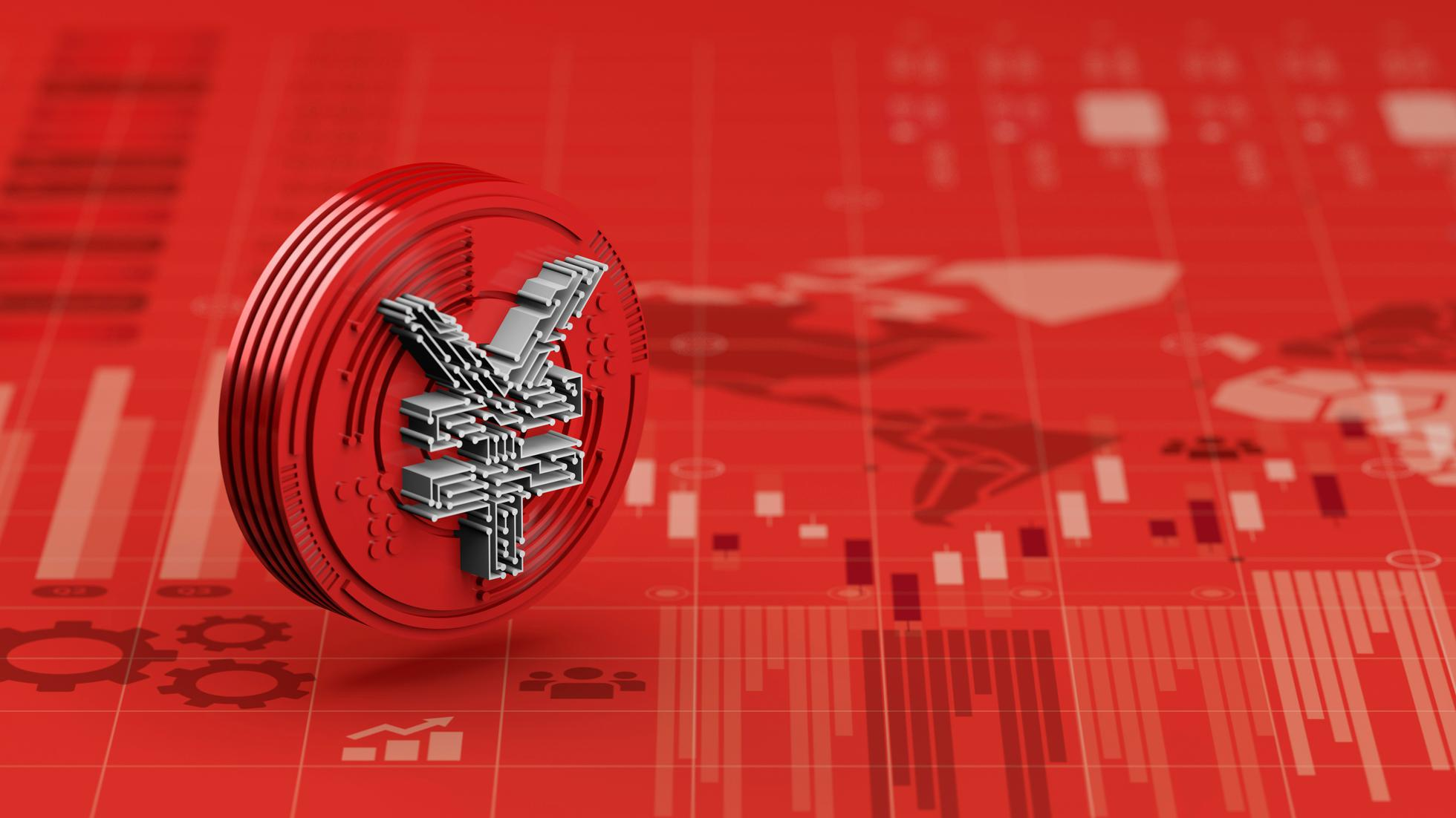 New Yuan digital currency of china on red economy graph chart