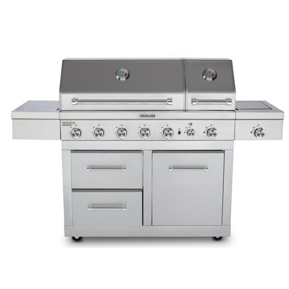 Memorial day grill sales: Kitchenaid 5 - Burner Free Standing Liquid Propane Infrared 91000 BTU Gas Grill with Side Burner & Reviews   Wayfair