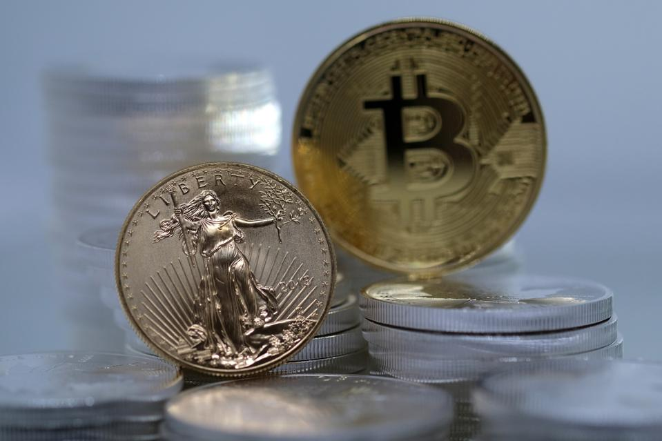 Representation of Bullion Coins And Cryptocurrencies