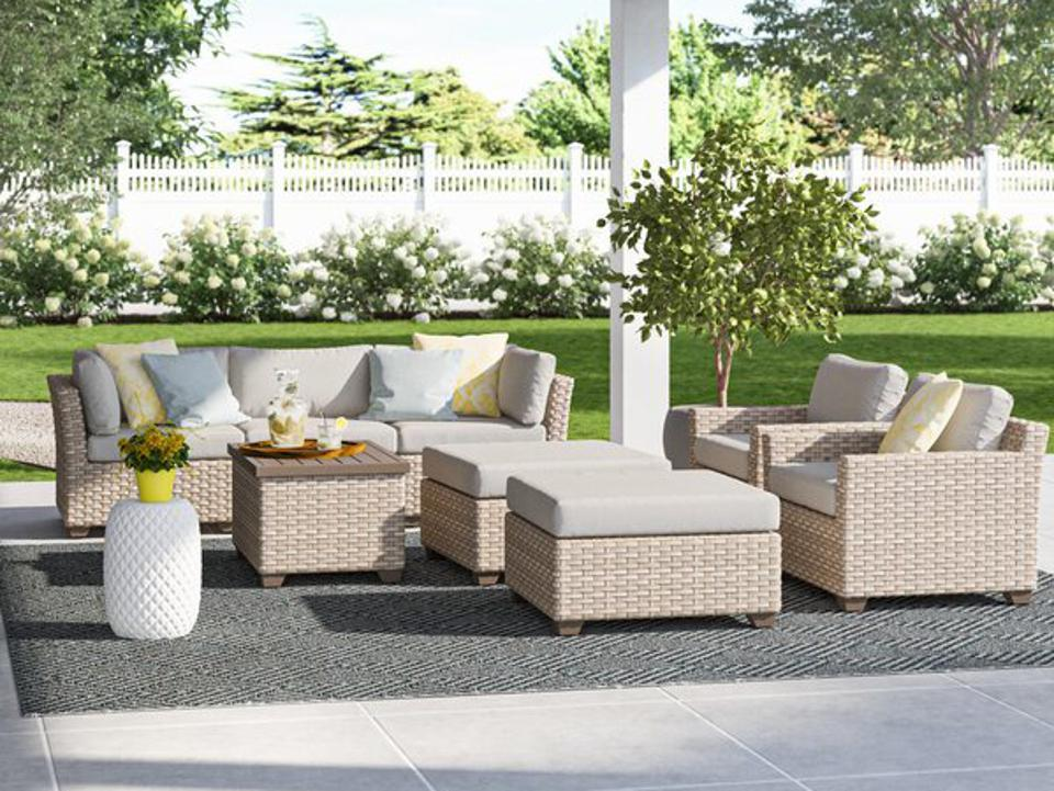 Wayfair memorial day sale: Sol 72 Outdoor™ Rochford All Weather Wicker/Rattan 7 - Person Seating Group with Cushions & Reviews | Wayfair