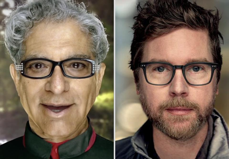 Photorealistic images of Deepak Chopra and Biz Stone faces