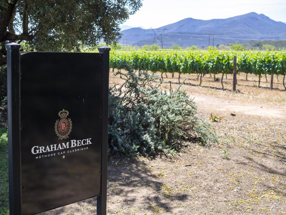 A sign at the Graham Beck Vineyard, a winery in the Western...