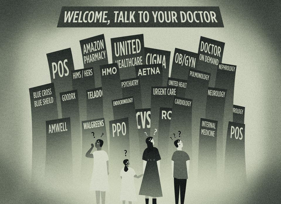 A ″talk to your doctor″ design representation of four patients confused by the difficult to navigate call to action.