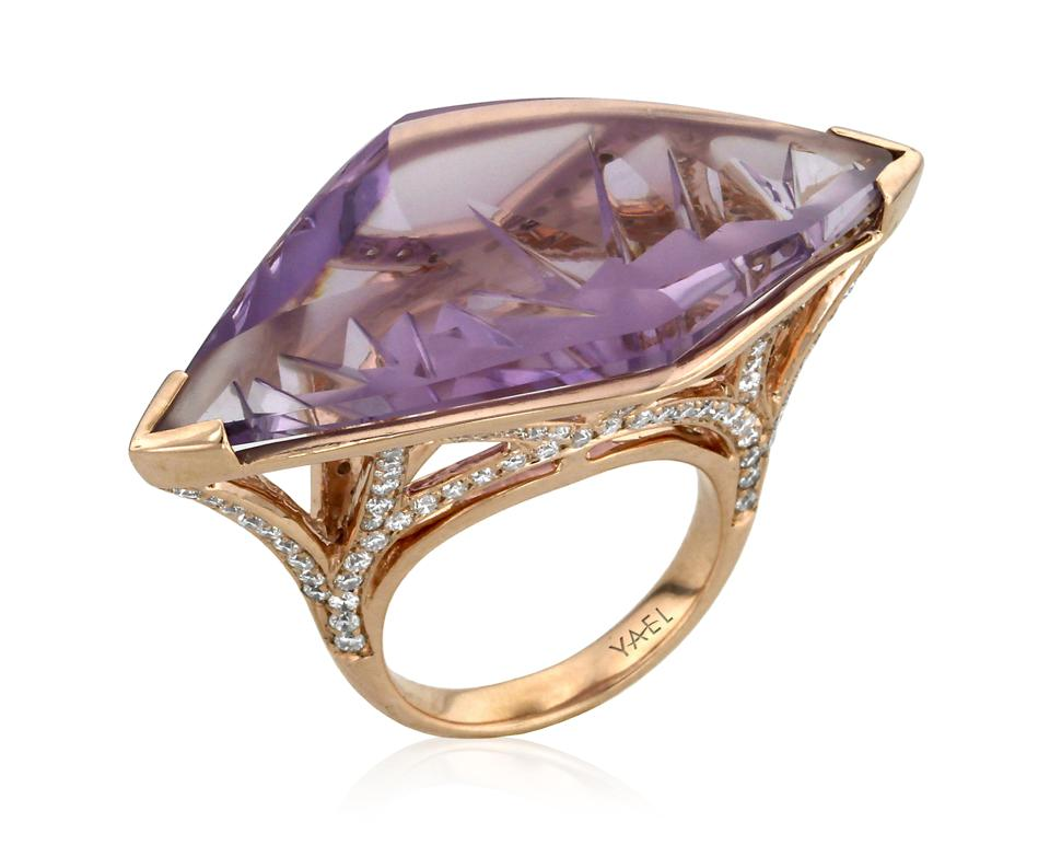 Special cut French diamond and amethyst ring by Yael Designs.