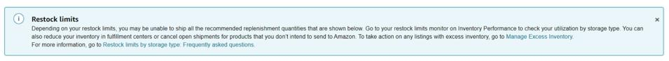 A message on Amazon Seller Central that says a Seller's restock limit has been reached and they will be unable to send in more inventory.