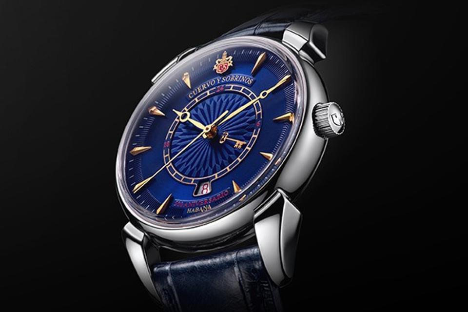 Cuervo y Sobrinos 1519 watch with blue dial