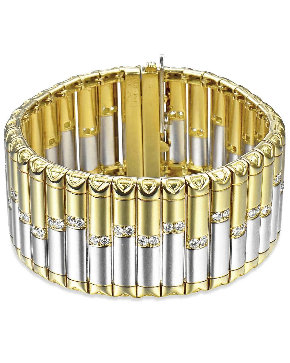 Large Michael Bondanza cuff bracelet in platinium and gold, set with diamonds.