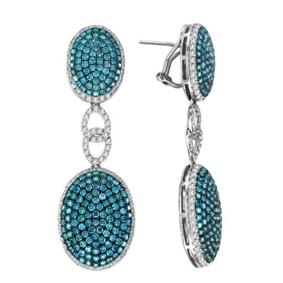 Blue and White Diamond Drop Earrings from Dvani Jewelry