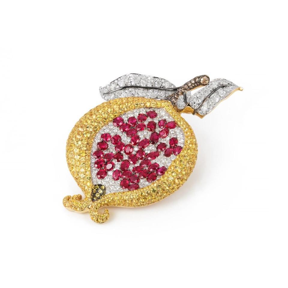 Ruby, diamond and yellow sapphire pomegranate brooch by Dvani Jewelry