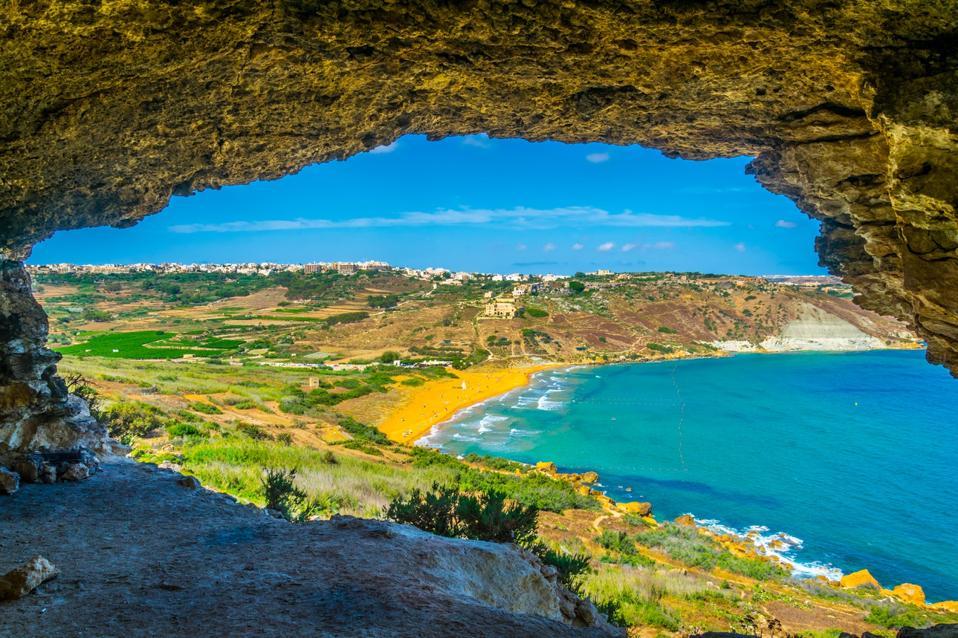 Aerial view of Ir-Ramla bay at Gozo, Malta.