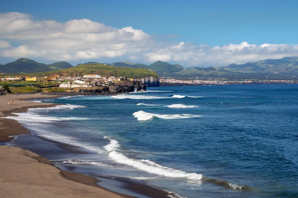 Scenic view of Atlantic coast and Ribeira Grande town in Sao Miguel island, Azores