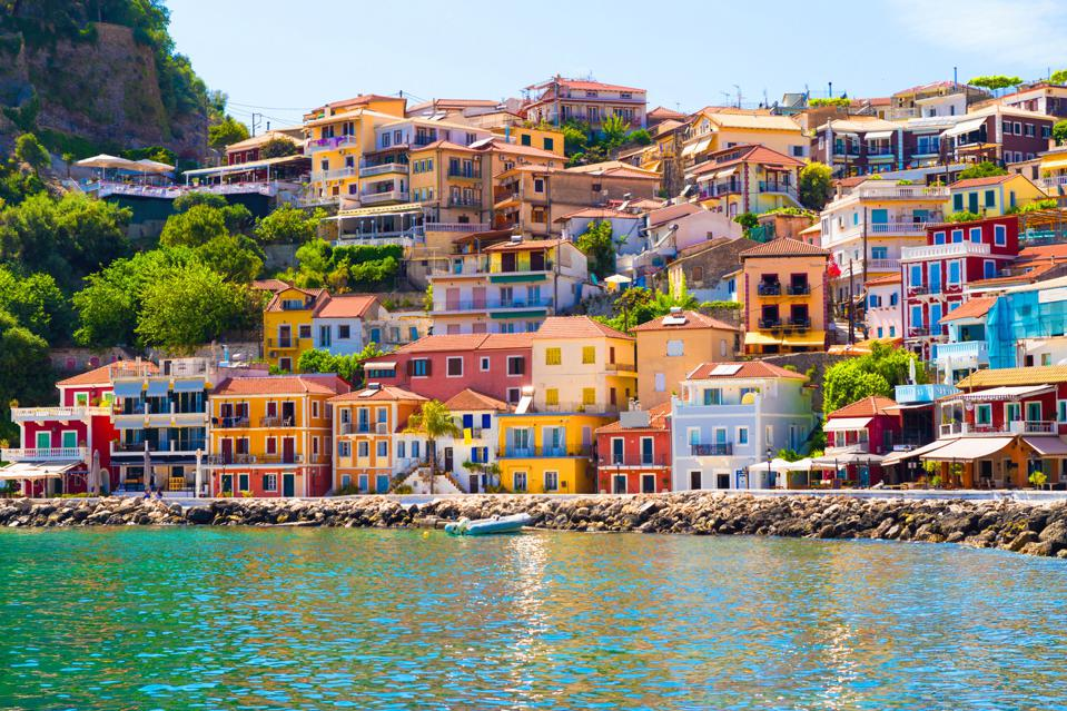Colorful houses on the sea in Preveza, Greece.