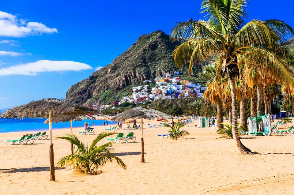 bSafest Beaches 2021; Las Teresitas in Tenerife Island, Spain