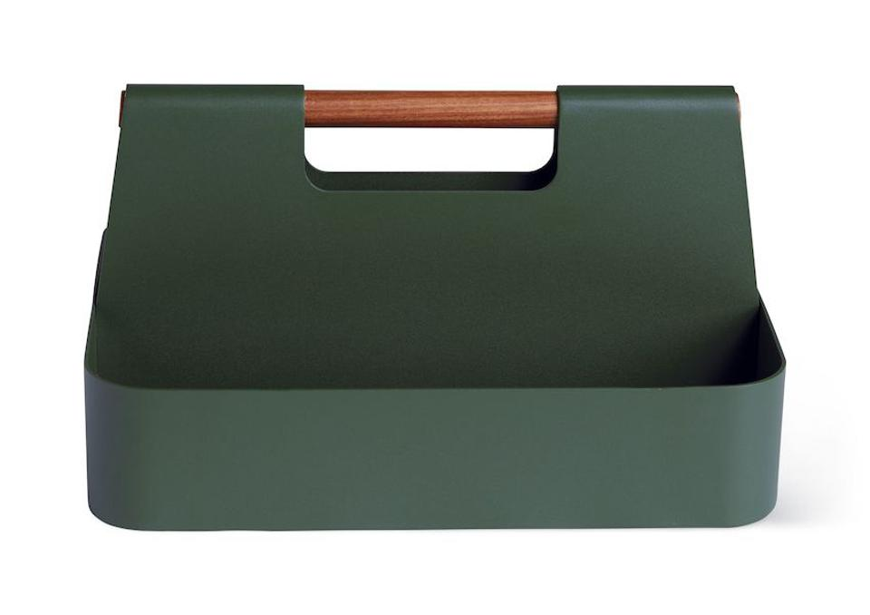 Green open tool box with wood handle