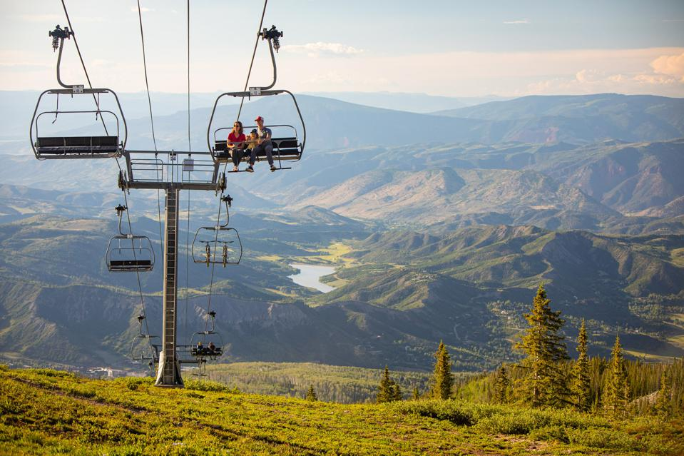 Chairlift view of snowmass