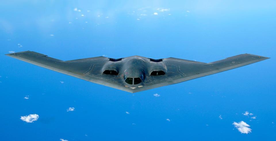 B-2 bomber in flight.