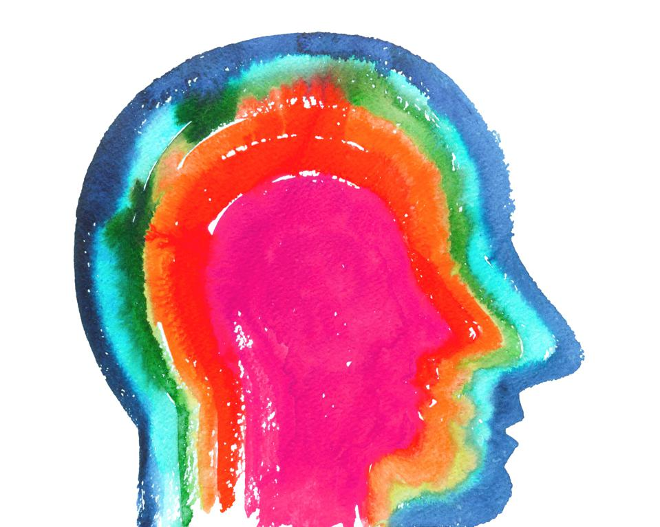 Profile of a head with layers of color showing importance of managing emotions for happiness.