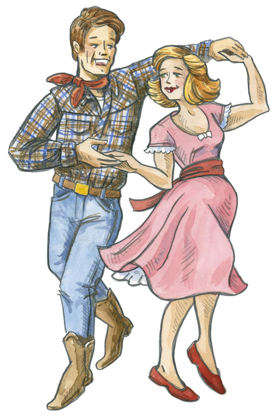 Retro-Style Illustration of Man and Woman Square Dancing