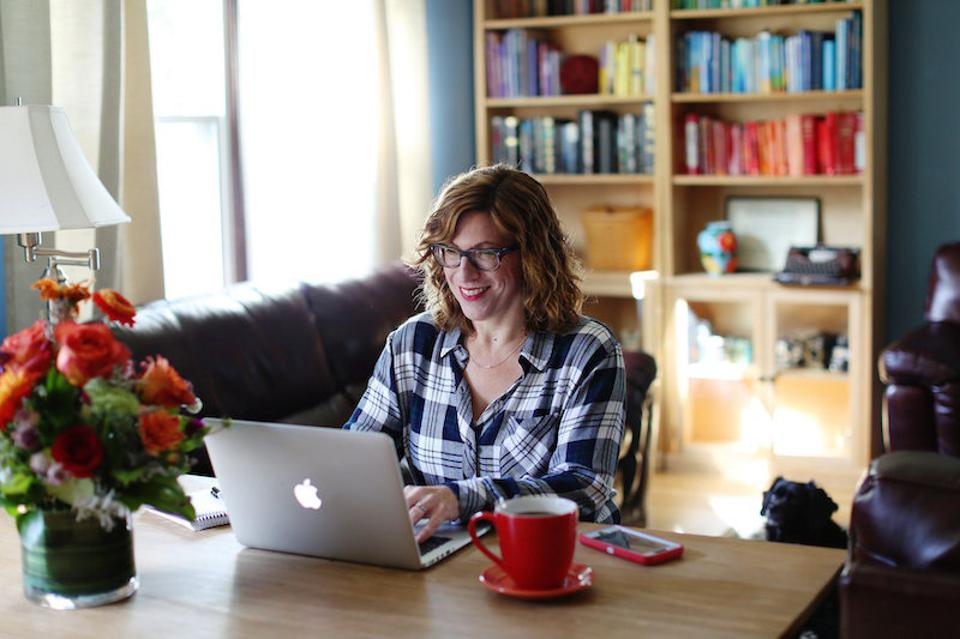 Peloton enthusiast Leah Ingram in her home office