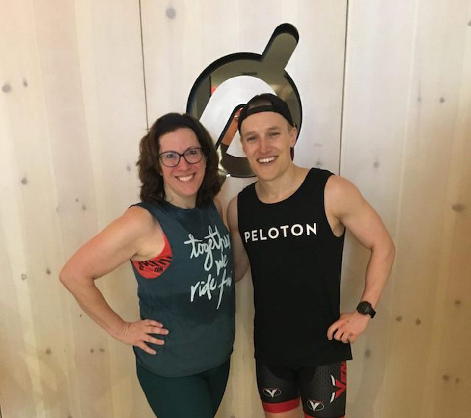 Leah Ingram and Peloton Instructor Matt Wilpers at Peloton Studios in New York