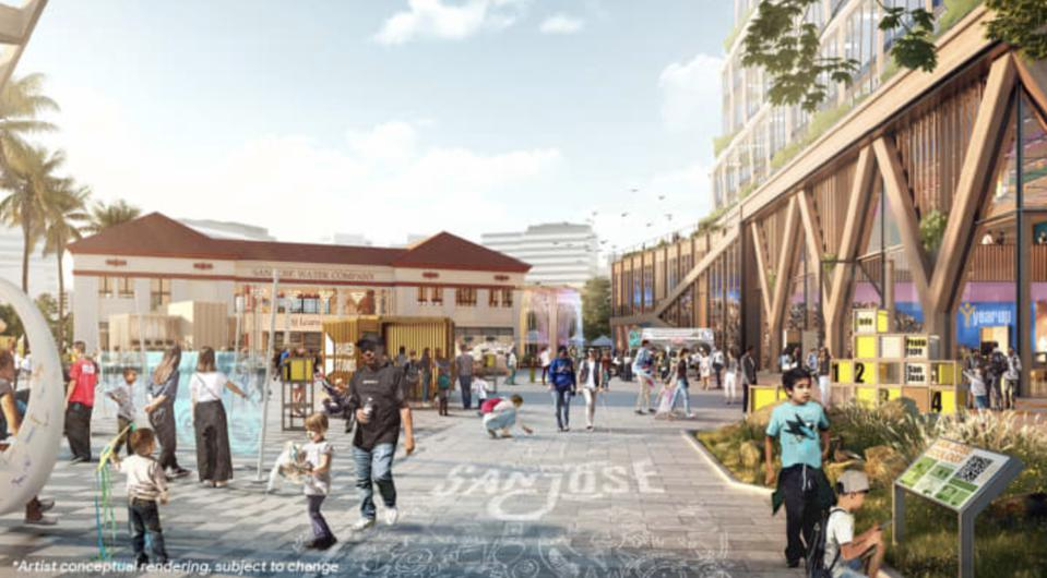 A rendering of a public gathering space for Google's planned Downtown West campus
