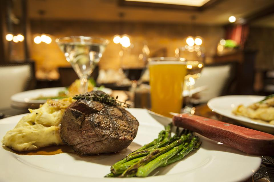 fillet and asparagus and mashed potatoes in beer