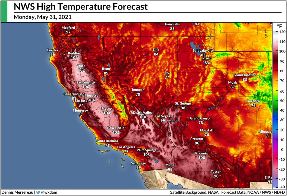 A map of the National Weather Service's high temperature forecast for May 31, 2021.