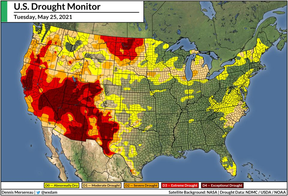 A map of the U.S. Drought Monitor for May 25, 2021.