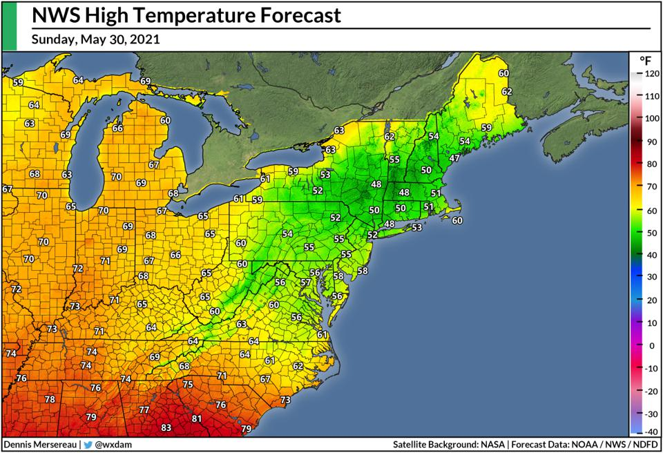 A map of the National Weather Service's high temperature forecast for May 30, 2021.
