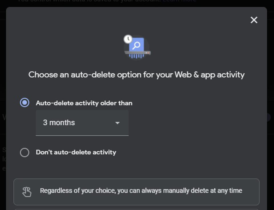 Or even have Google automatically delete activity by age if you prefer