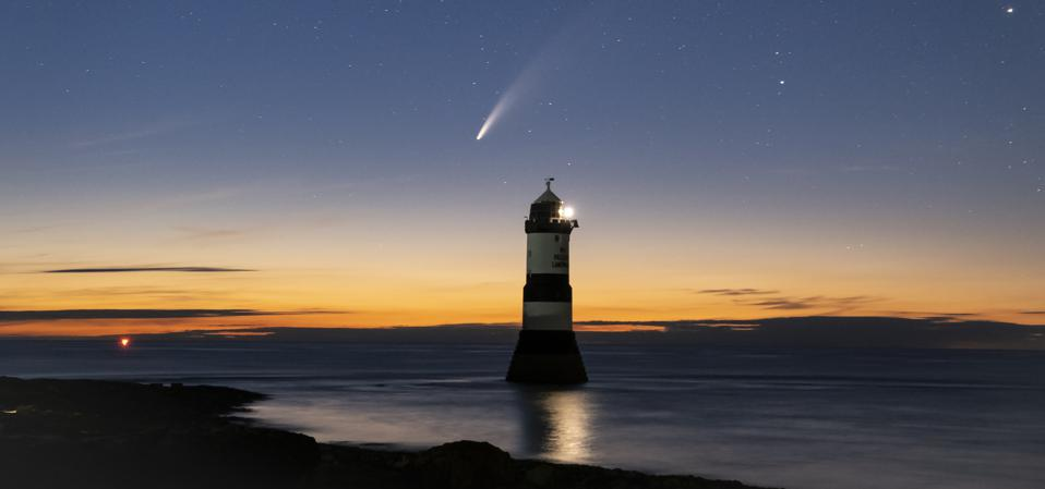 Last summer's well-timed treat was Comet NEOWISE, seen here in the starry sky above Trwyn Du Lighthouse or Penmon Point Lighthouse, Penmon, Anglesey, North Wales, U.K.