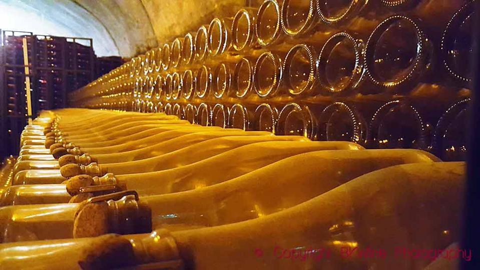 Bottles ageing ″sur lattes″ on its lees after the second fermentation in bottle at Champagne J de Telmont