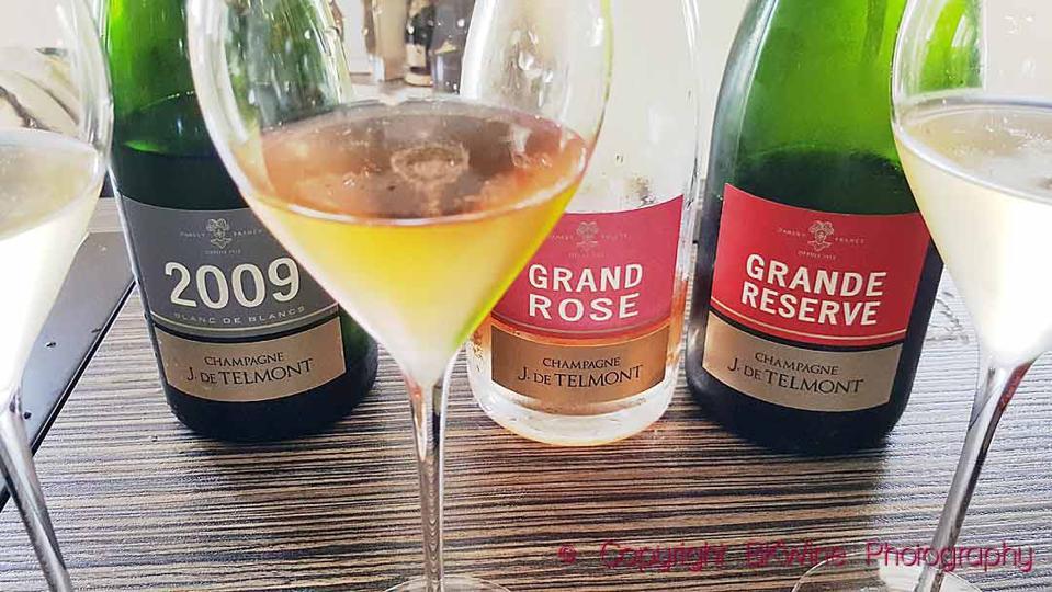 Tasting of three champagnes at J de Telmont, a vintage 2009, a rosé, and a Grande Réserve