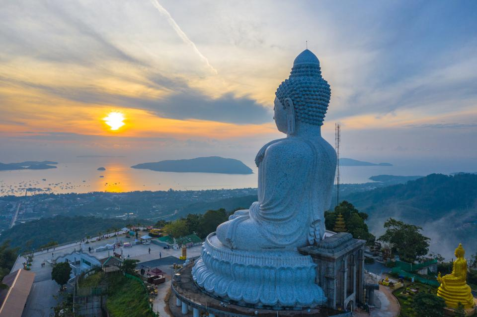 aerial view sunrise in front of Phuket big Buddha