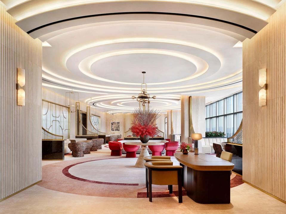 The lushly appointed, modern lobby at the new Josun Palace hotel in Seoul, South Korea.