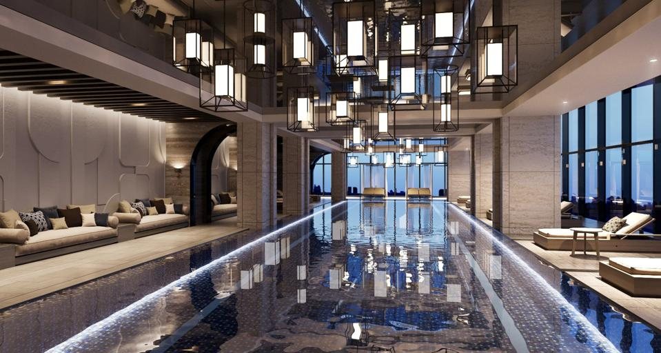 A beautifully outfitted indoor pool at the Josun Palace hotel overlooks the Gangnam skyline.